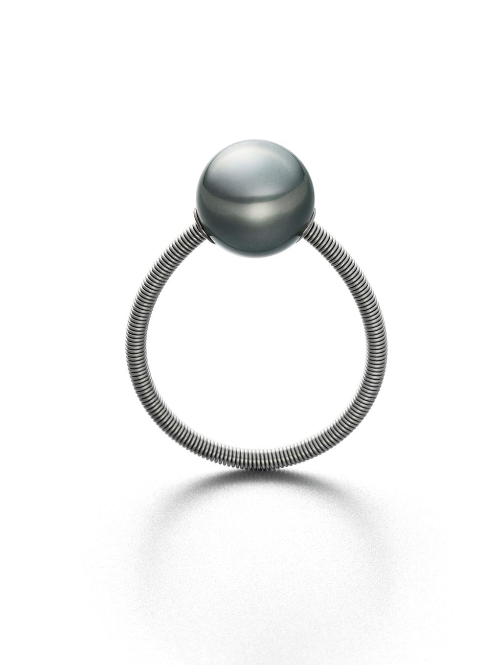 ring one tahiti, tahitiperle, softspirale aus edelstahl