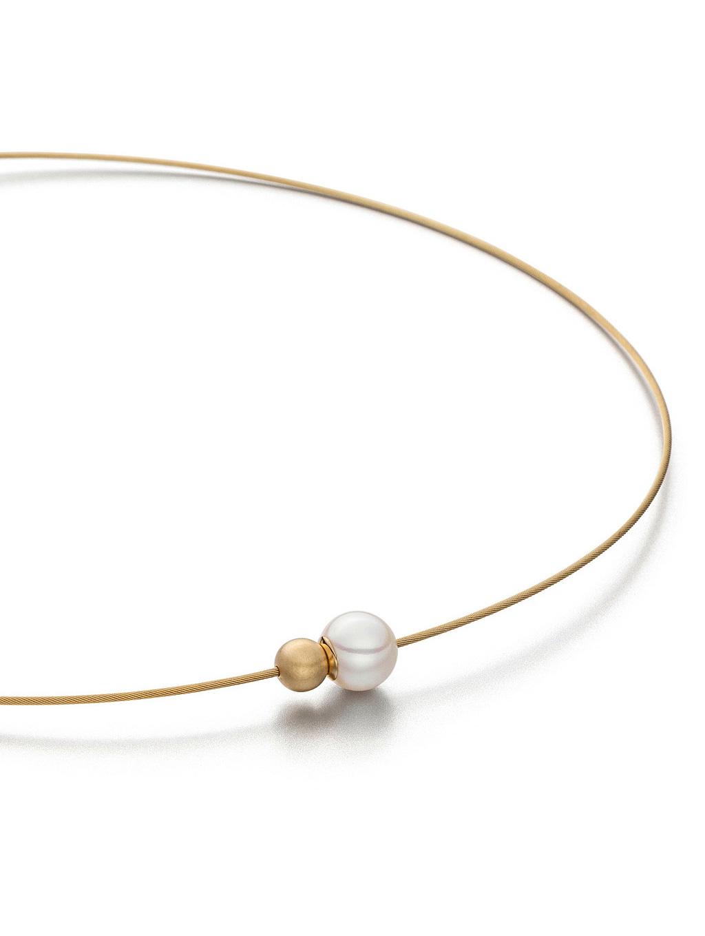 collier two, süßwasserperle, silber vergoldet, edelstahl, magnetverschluss in der perle