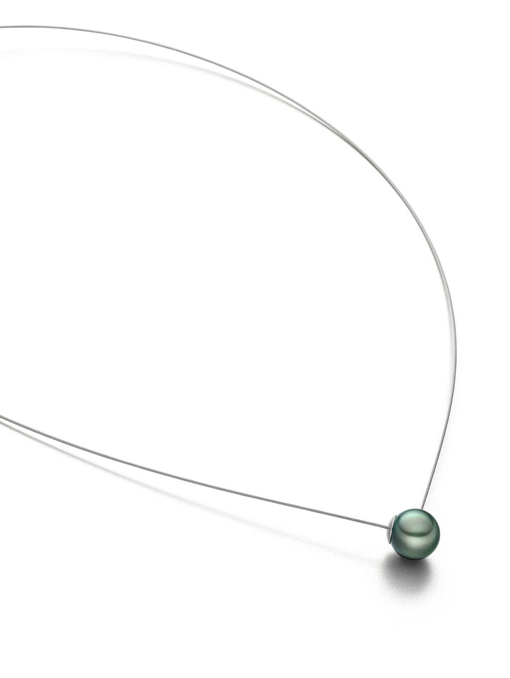 collier one tahiti, stahlseil, magnetverschluss in der perle